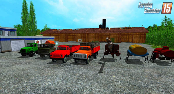 Gaz 53 Pack Trucks + Trailer Multicolor v 4.01